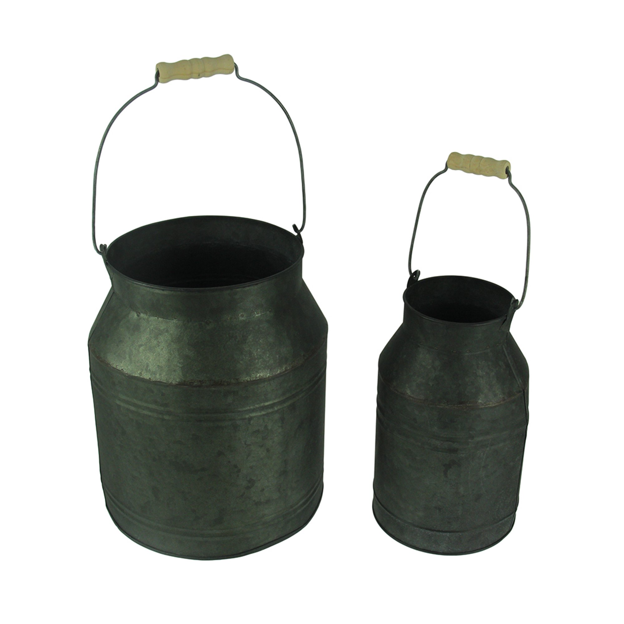 Rustic Galvanized Metal Milk Pail With Wood Handle Set Of 2