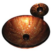 Novatto NSFC-027001ORB Distorto Hand Painted Glass Vessel Sink Set