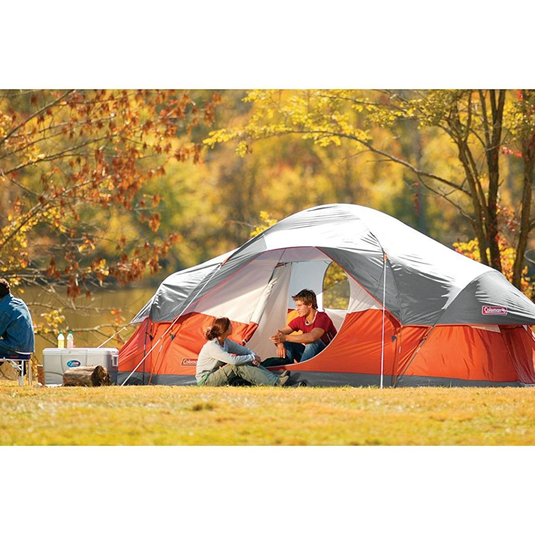 Red Canyon 8 Person 17 x 10 Foot Outdoor Camping Large Lightweight Dome Tent