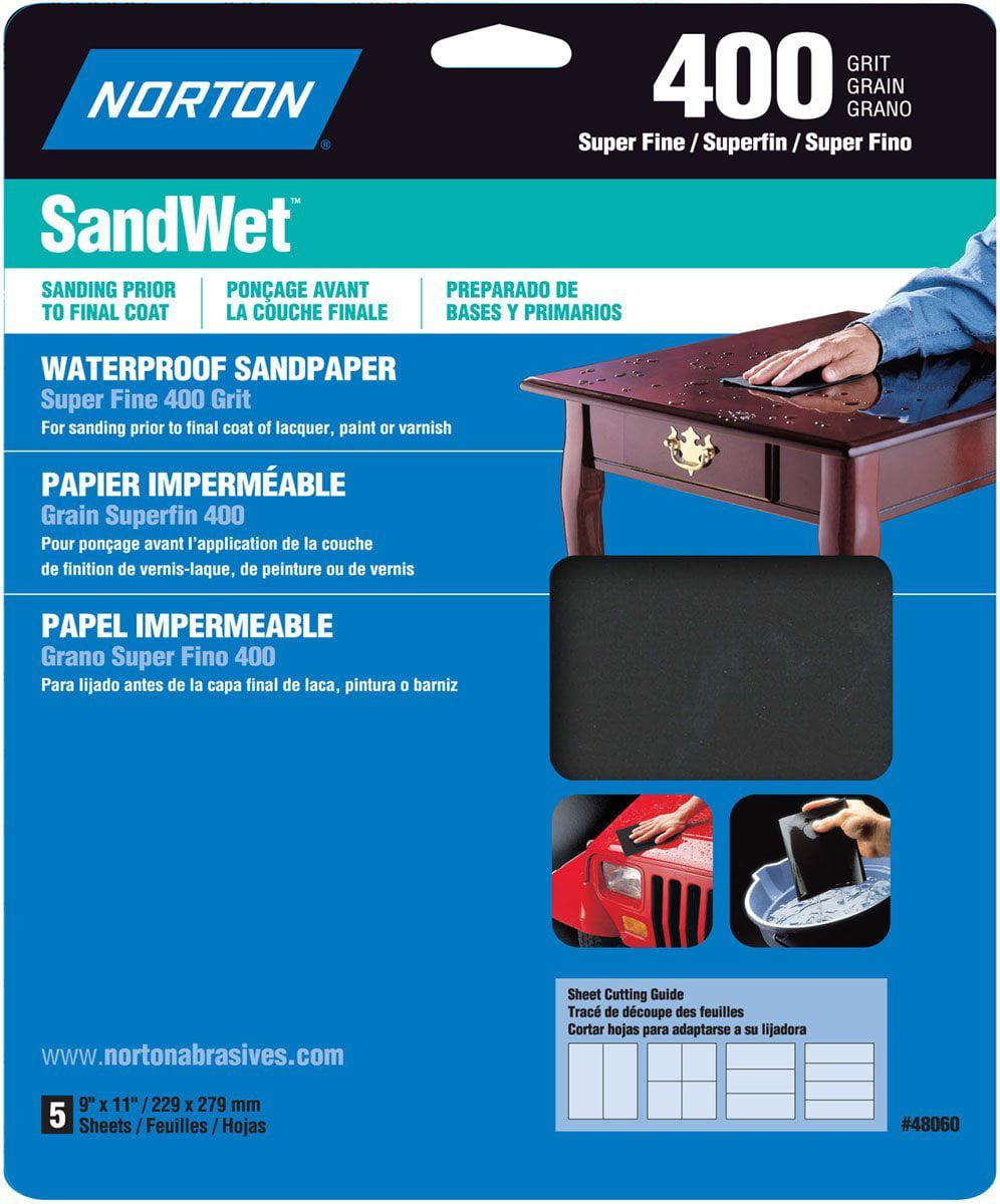 Norton 48060 Sandwet Sandpaper 400 Grit, 9-Inch x 11-Inch, 5-Pack, Flexible, fiber-reinforced backing By Symantec by