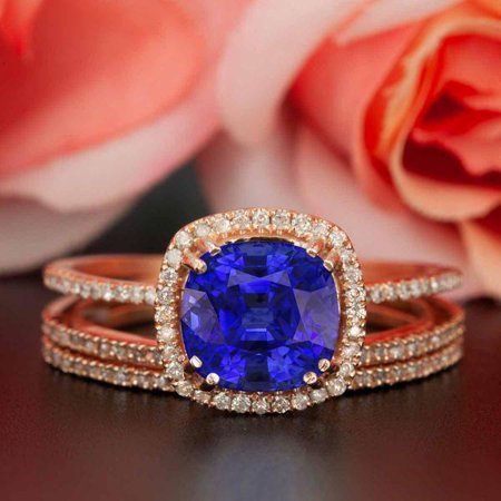 2 Carat Cushion Cut Halo Sapphire and Diamond Trio Wedding Ring Set in Rose Gold Designer