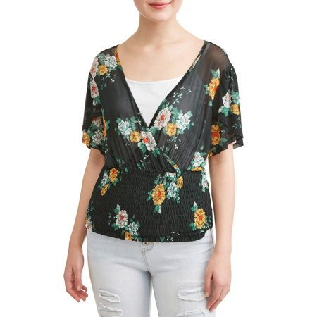 Juniors' Floral Printed Smocked Flutter Sleeve - Smocked Clearance
