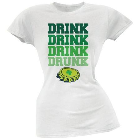 St. Patricks Day - Drink Drink Drunk White Soft Juniors T-Shirt