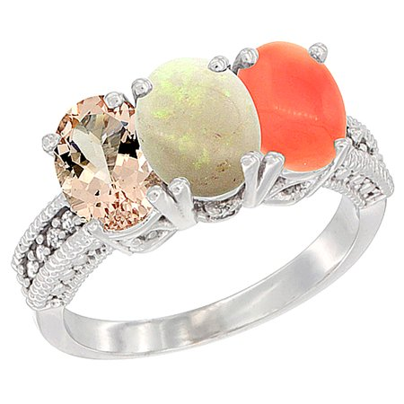 14K White Gold Natural Morganite, Opal & Coral Ring 3-Stone Oval 7x5 mm Diamond Accent, size 8.5