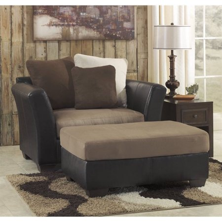 ashley masoli faux leather accent chair and a half with ottoman in