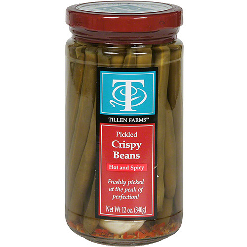 Tillen Farms Hot and Spicy Pickled Crispy Beans, 12 oz (Pack of 6)