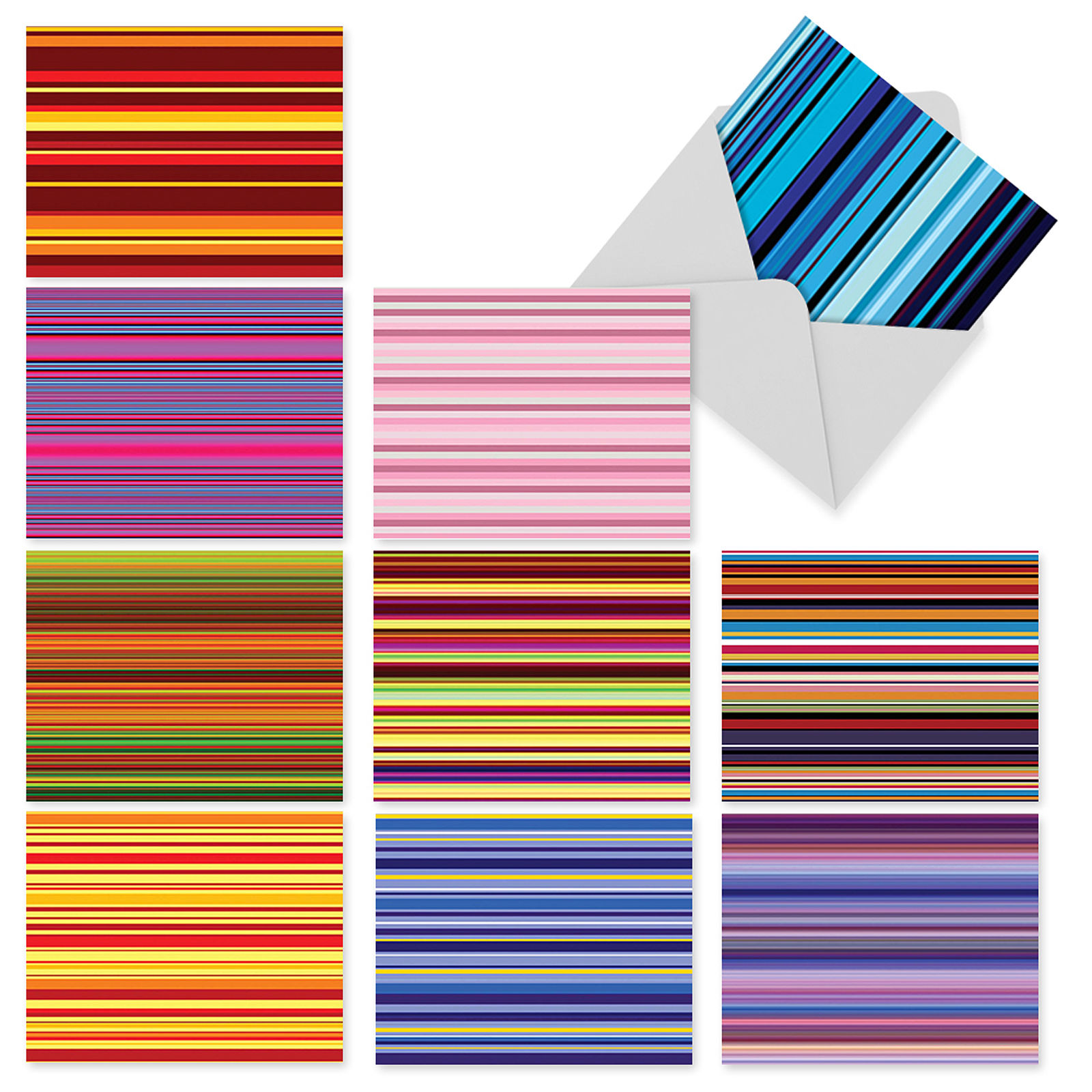 'M2034 M2034 True Stripes' 10 Assorted All Occasions Note Cards Featuring Various Colored Striped Patterns with Envelopes by The Best Card Company