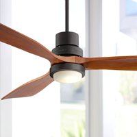 """52"""" Casa Vieja Modern Outdoor Ceiling Fan with Light Solid Wood Delta-Wing Oil Rubbed Bronze Damp Rated for Kitchen Patio"""