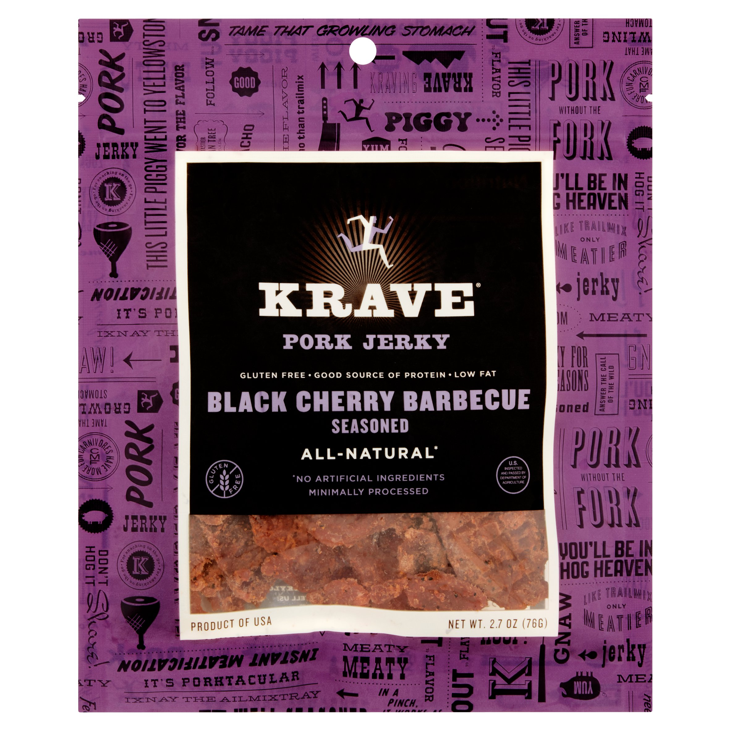 Krave Black Cherry Barbecue Seasoned Pork Jerky, 2.7 oz by Krave Pure Foods, Inc.