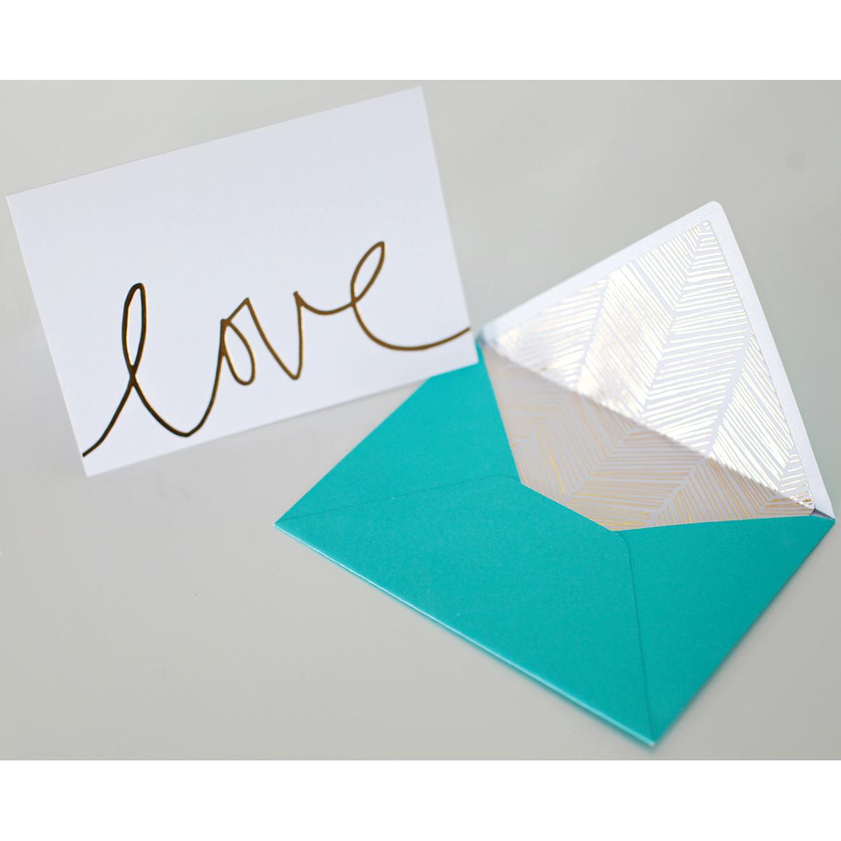 "Studio Gold Foiled Cards W/Envelopes 5.25""X3.75"" 12/Pkg-Love"