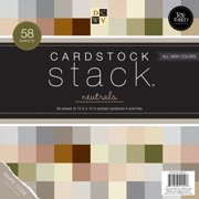 "Cardstock Stack 12""X12"" 58/Pkg-Neutral Texture Solids W/White Core"