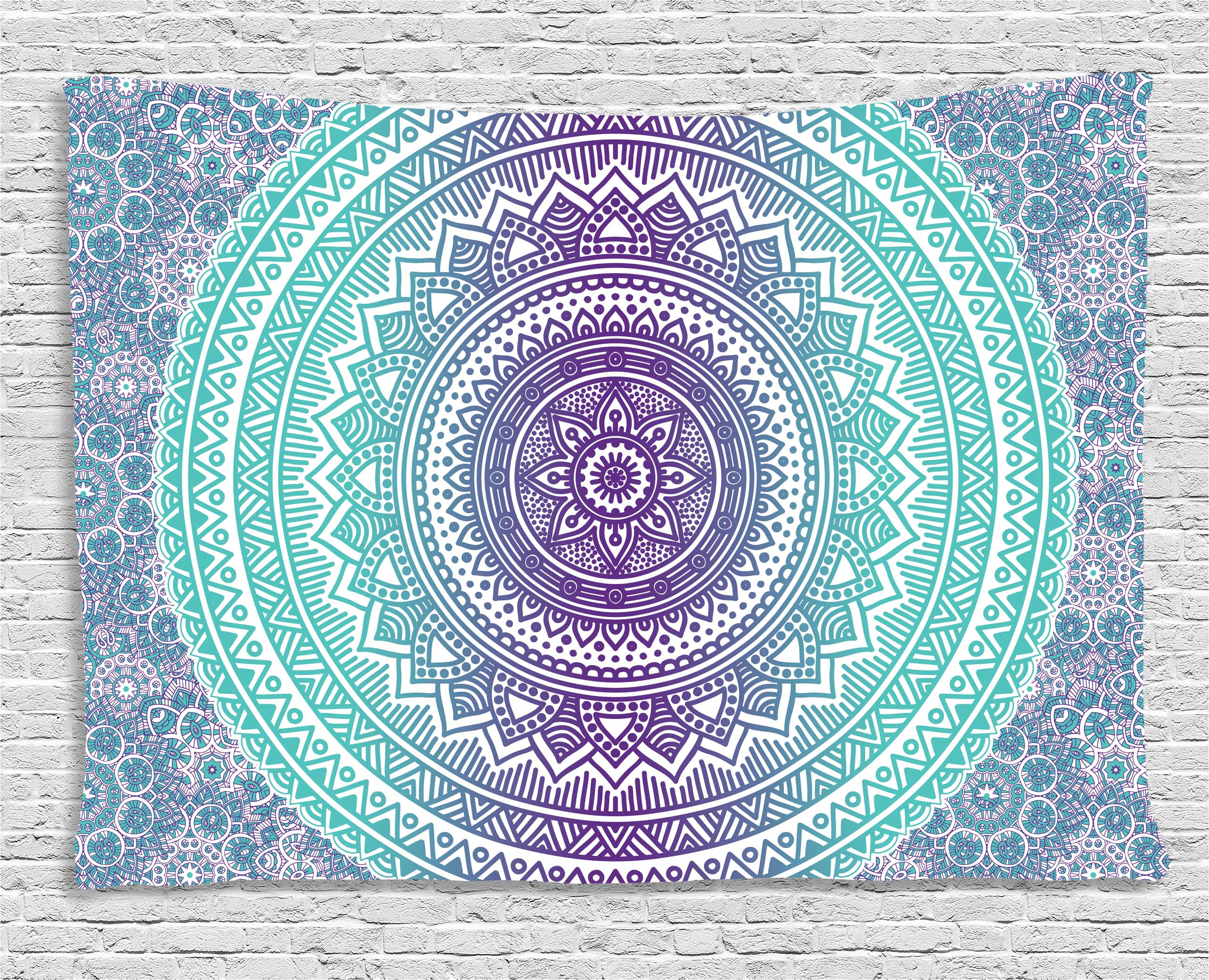 Blue and Purple Tapestry, Mandala Ombre Eastern Mystic Abstract Old Fashion Bohemian Native Cosmos Art, Wall Hanging for... by Kozmos