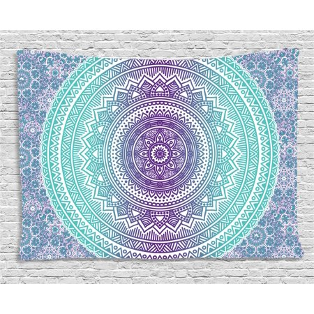 Blue and Purple Tapestry, Mandala Ombre Eastern Mystic Abstract Old Fashion Bohemian Native Cosmos Art, Wall Hanging for Bedroom Living Room Dorm Decor, 60W X 40L Inches, Purple, by Ambesonne](Bohemian Wall Art)