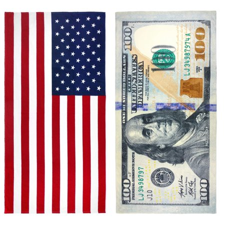 "Kaufman $100 Bill and American Flag Printed Beach Towel Set 2 Towels 30"" x 60"
