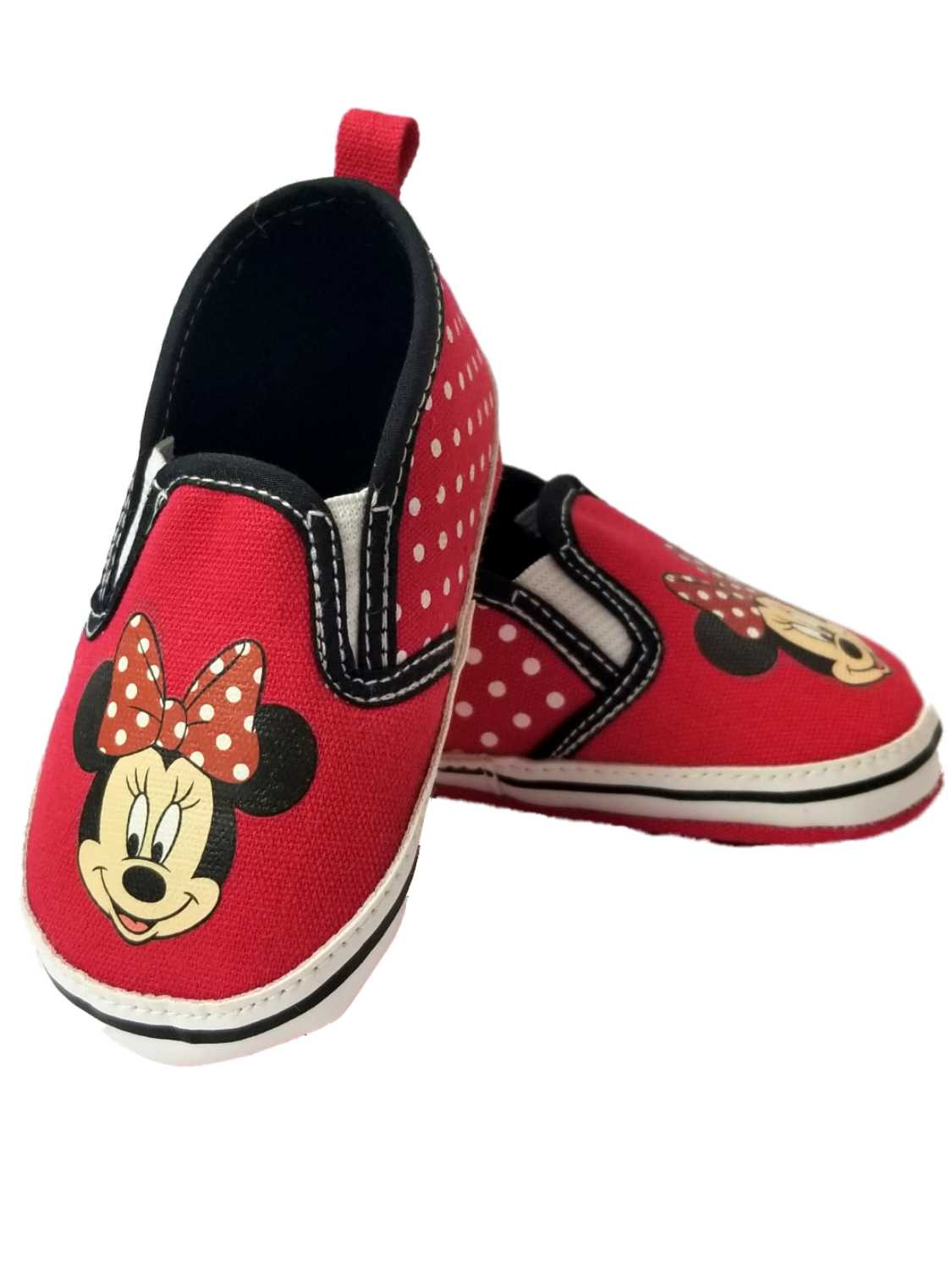 Disney Baby Infant Girls Red Polka Dot Minnie Mouse Ears Loafer House Shoes