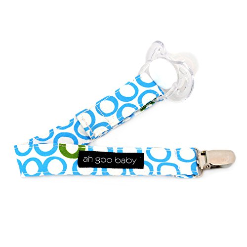 Ah Goo Baby Pacifier Clip, Easy & Quick Velcro Attachment, Bubbles in Water Pattern