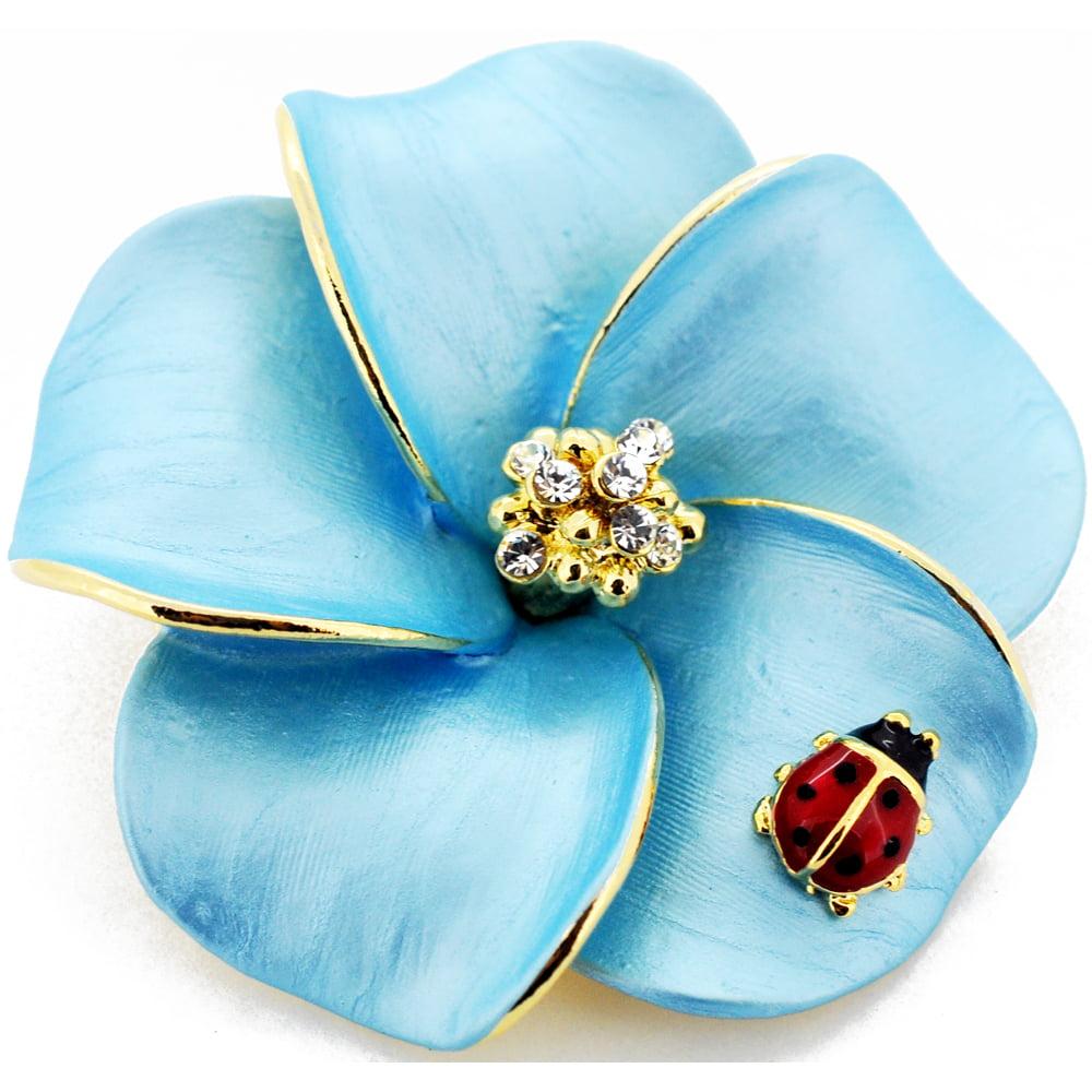 Blue Hawaiian Plumeria With Red Ladybug Swarovski Crystal Pin Brooch and Pendant by