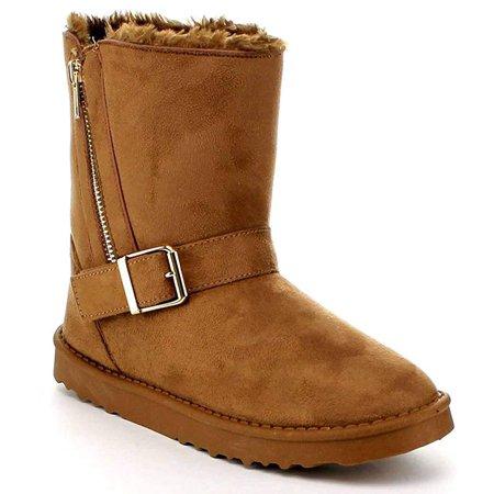 Zipper Furry Vegan Suede Women's Comfort Winter Shoes Booties - 10 / Black](Furry Monster Boots)