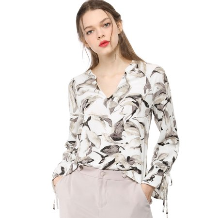 Unique Bargains Women's Bell Long Sleeves Leaves Blouse Tops Off White XL - image 2 of 6