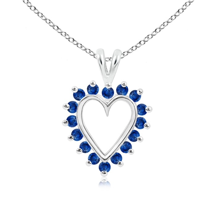 V-Bail Prong Set Open Heart Sapphire Pendant Necklace in Platinum (2mm Blue Sapphire) by Angara.com