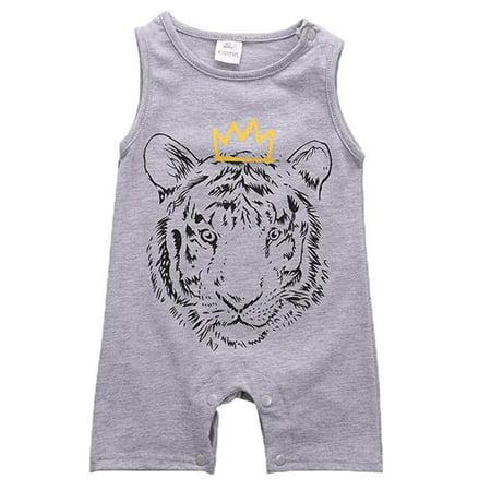Newborn Baby Boy Letter Tiger Print Sleeveless Romper Jumpsuit Clothes