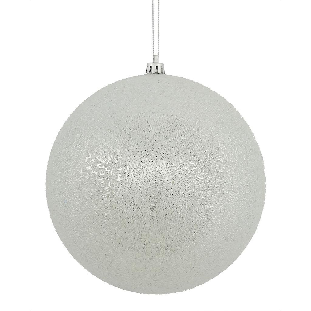 "Vickerman 472385 - 4"" Silver Iced Ball Christmas Tree Ornament (4 pack) (N172107D)"