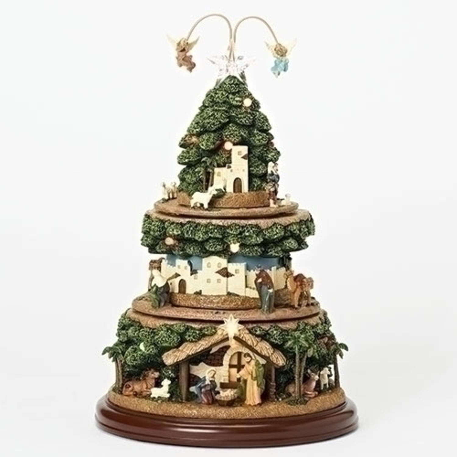 "15"" Green and Brown Battery Operated LED Musical Nativity Tree with Rotating Tiers"
