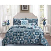 Madison Collection 5 Piece Quilt Set Turquoise Printed Style - Reversible Pattern Coverlet & Queen Bedspread Set - 1 Quilt, 2 Shams, 1 Decorative Pillow, 1 Lumbar Pillow (Full/Queen, Turquoise)