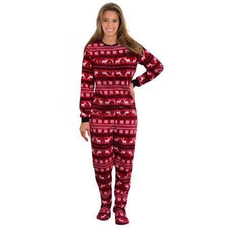 ca8713c67c47 Int Intimates - Womens Footed Pajamas Red Onesie MicroFleece ...