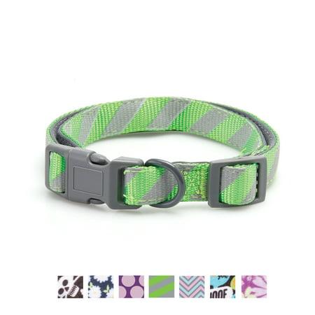 Vibrant Life Green/Gray Striped Comfort Padded Dog Collar, Medium, 14-20