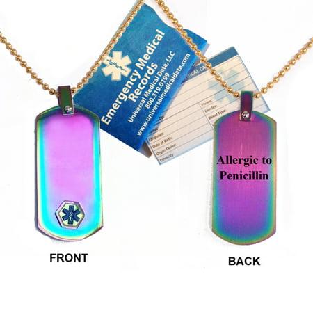 Allergic to Penicillin Medical Alert ID Dog Tag Pendant in Anodized Titanium ()