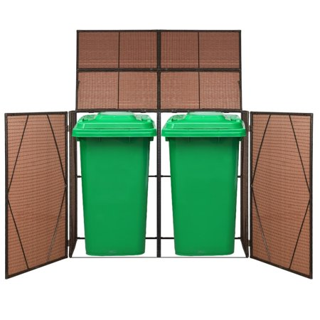 vidaXL Double Wheelie Bin Shed Poly Rattan 60.2