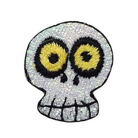 Small - Halloween - Human Skeleton Skull - Shimmery - Iron on Applique /Embroidered Patch - Iron On Halloween Appliques