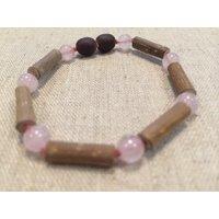 Pink 5.5 Inch Hazelwood Rose Quartz Bracelet (For GERD, Colic, Eczema) Baby, Infant.
