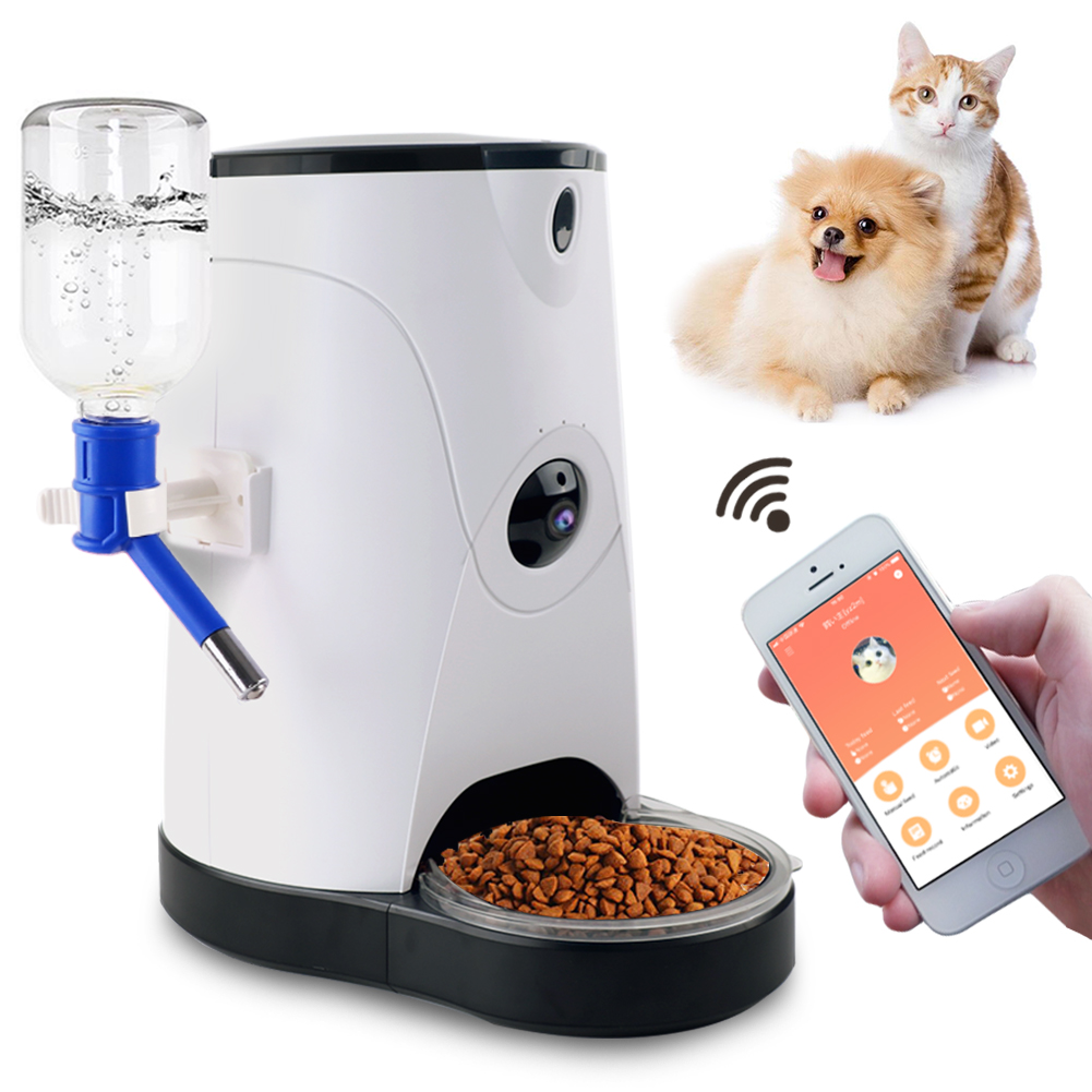 Automatic Feeder Smart pet food and water dispenser with HD camera and video Remote surveillance for dogs and cats Controlled by IPhone and Android