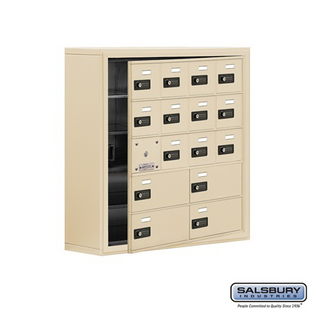 Salsbury Industries 19158-16SSC Cell Phone Storage Locker - 5 Door High Unit (8 Inch Deep Compartments) - 12 A Doors (11 usable) and 4 B Doors - Sandstone - Surface Mounted