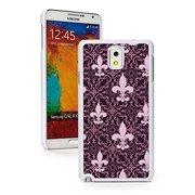Samsung Galaxy Note 4 Hard Back Case Cover Pink Purple Fleur-de-lis Pattern (White)