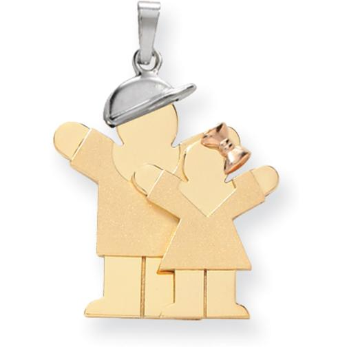 14K Tri Color Gold The Kids Boy & Girl Charm Jewelry