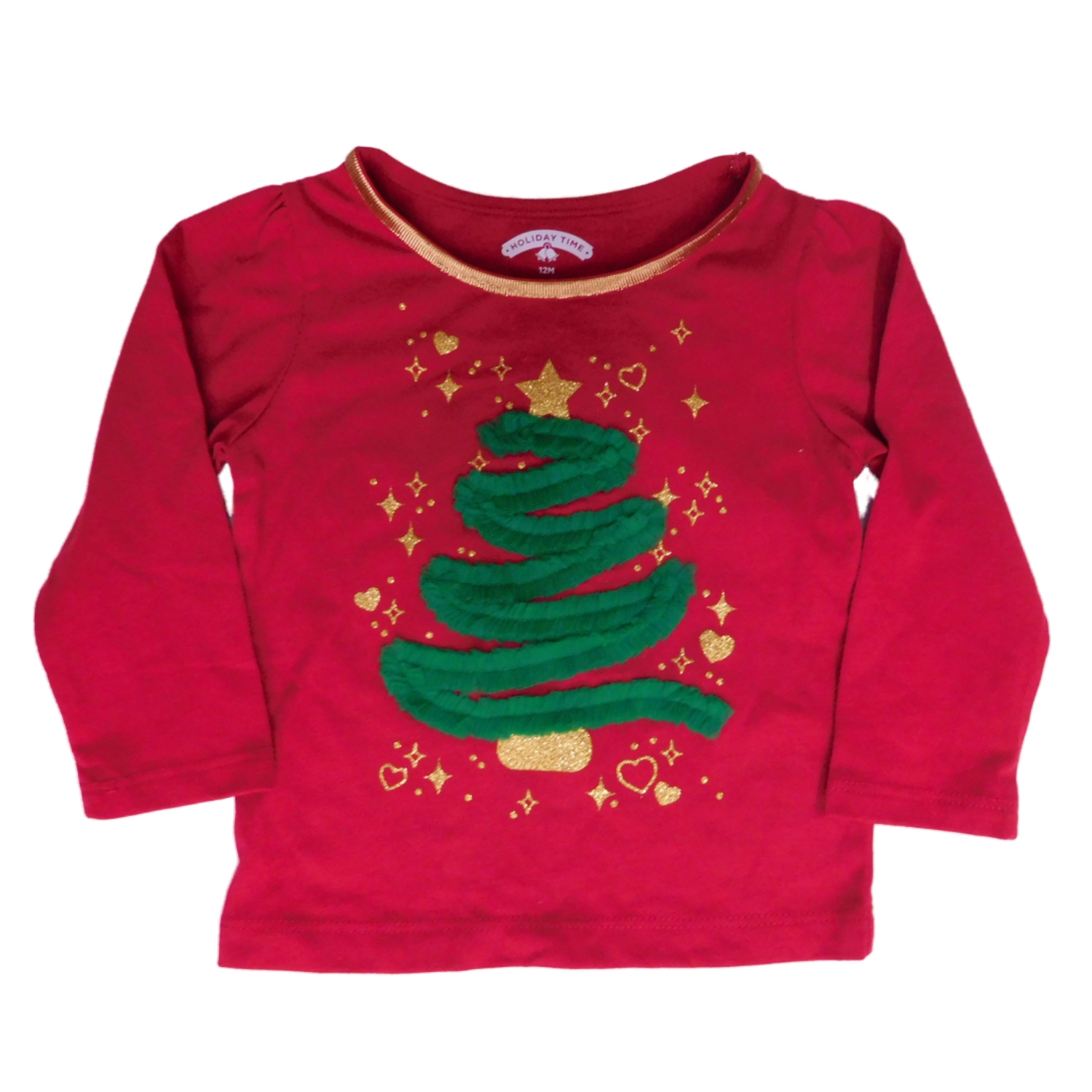 Infant Toddler Girls Red Tulle Ribbon Christmas Tree Tee Shirt