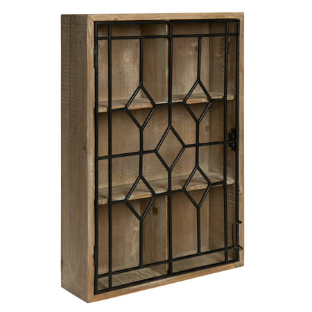 Kate And Laurel Megara Wooden Wall Hanging Curio Cabinet For Open Storage With Decorative Black Iron Door Rustic Brown