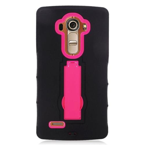 Insten Symbiosis Rubber Dual Layer Hard Cover Case w/stand For LG G4 - Black/Hot Pink