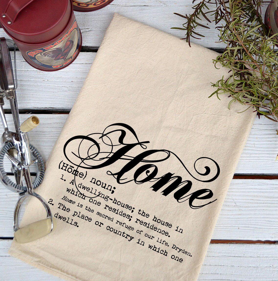 Farmhouse Natural Flour Sack Definition Home Script Country Kitchen Towel by