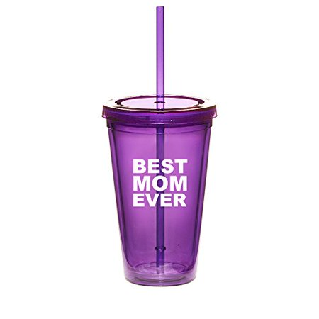 16oz Double Wall Acrylic Tumbler Cup With Straw Best Mom Ever (Purple) ()