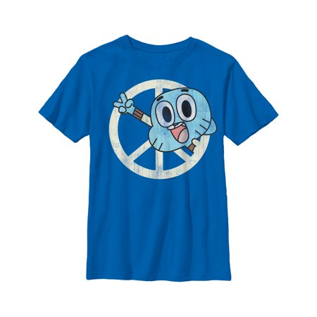 The Amazing World of Gumball Boys' Peace Sign Gumball T-Shirt (The Amazing World Of Gumball The Skull)