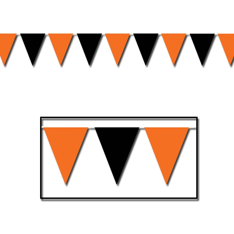 Beistle Orange and Black Pennant Banner