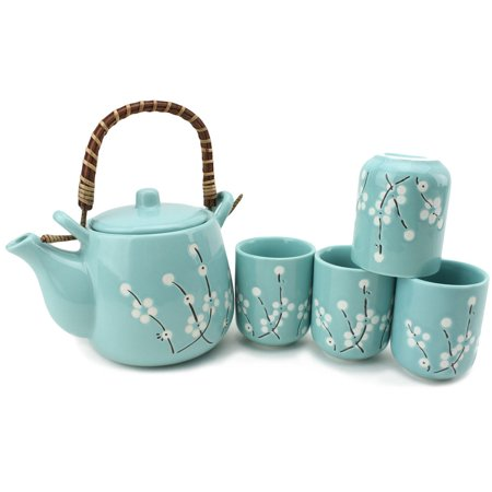 5 PC Japanese Teapot set with Tea Cups ~ Japanese Antique Light Blue Flowers Design and Filter Gift / Birthday gift / Kitchen / Teapot / idea for gift