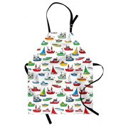 Nautical Apron Bunch of Colorful Vessel Speedboat Fishing Trawler Motorboat Water Vehicle Concept, Unisex Kitchen Bib Apron with Adjustable Neck for Cooking Baking Gardening, Multicolor, by Ambesonne