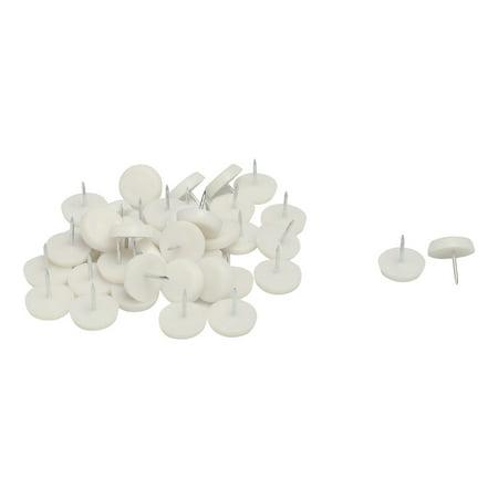 Unique Bargains 24mm Dia Nylon Head Furniture Chair Table Feet Protector Glide Nail White 30pcs ()