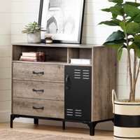 South Shore Valet 3-Drawer Buffet, Weathered Oak and Matte Black