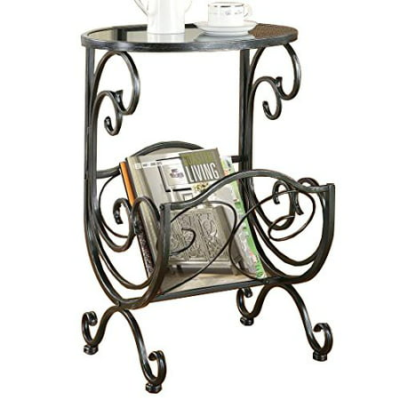 - Coaster Metal and Glass Accent Table, with Storage, Metal frame has gunmetal finish By Coaster Home Furnishings